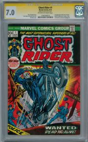 Ghost Rider #1 1973 CGC 7.0 Signature Series  Signed Stan Lee Marvel comic